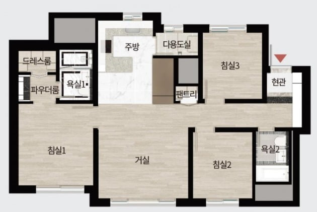 '동탄역 디에트르 퍼스티지'의 전용 84㎡형 평면도. 아파트와 크게 다르지 않지만, 분양가는 9억원을 웃돈다. / 자료=대방건설