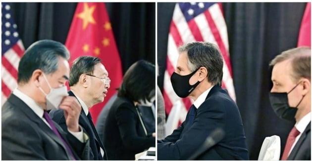 지난 3월 18일 미국 알래스카에서 열린 미·중 고위급 회담. 왼쪽부터 왕이 중국 외교부 장관, 양제츠 중국 공산당 외교담당 정치국 위원, 토니 블링컨 미국 국무장관, 제이크 설리번 백악관 국가안보보좌관. 이날 양국은 서로를 맹비난하며 회담은 사실상 결렬됐다. /AP연합뉴스