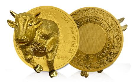 조폐공사, '입체형 황금소 메달' 출시
