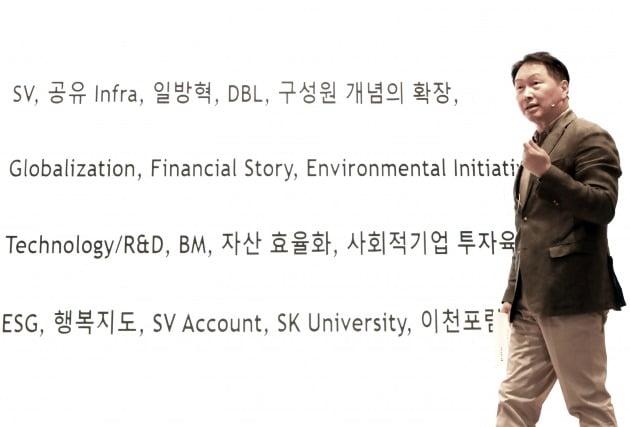 최태원 SK그룹 회장이 22일 경기도 이천시 SKMS연구소에서 열린 '2021 확대경영회의'에서 마무리 발언을 하고 있다. 사진=SK