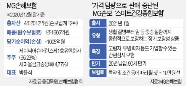 """""""고객 끌어모으려 헐값 판매""""…금감원, MG손보 '덤핑 보험' 제동"""