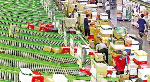 더불어민주당과 정부가 쿠팡, 네이버, 배달의민족 등 온라인 플랫폼의 전자상거래를 규제하는 법안을 본격적으로 추진하기로 했다. 서울의 한 물류센터에서 직원들이 택배물품을 정리하고 있다.  한경DB