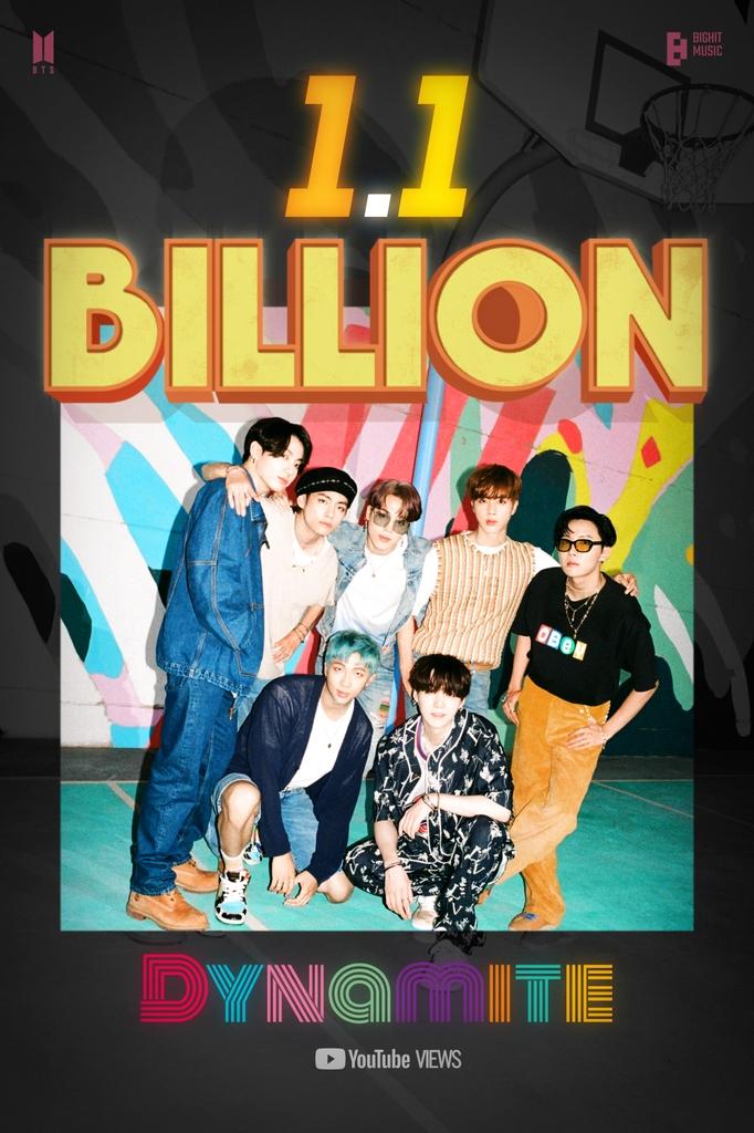 BTS '다이너마이트' MV, 공개 10개월 만에 11억뷰 돌파
