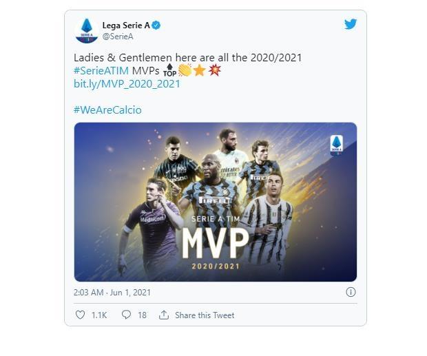 인터밀란 루카쿠, 득점왕 호날두 제치고 세리에A MVP