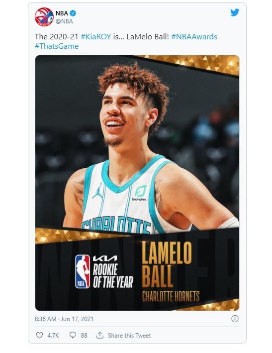 샬럿 라멜로 볼, NBA 올해의 신인에 선정
