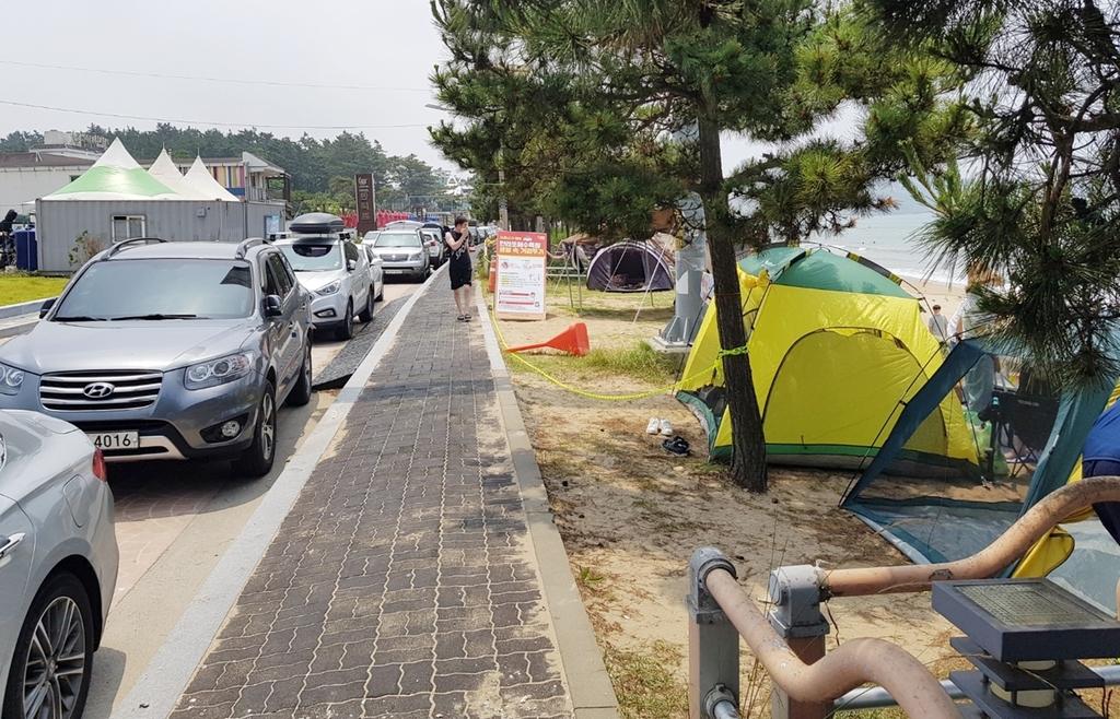 주행·주정차 차량 뒤섞여 난리…태안 만리포해변 '몸살'