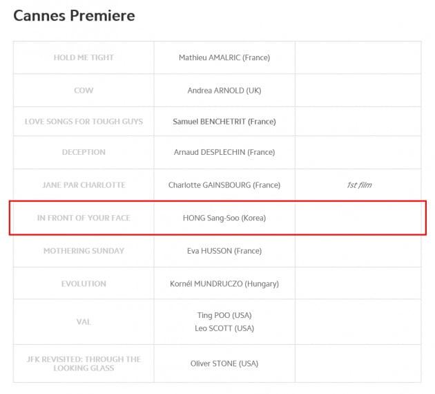 홍상수 감독의 '당신 얼굴 앞에서'는 제74회 칸영화제 칸 프리미어 부문에 공식 초청됐다. / 사진=칸영화제 홈페이지 캡처