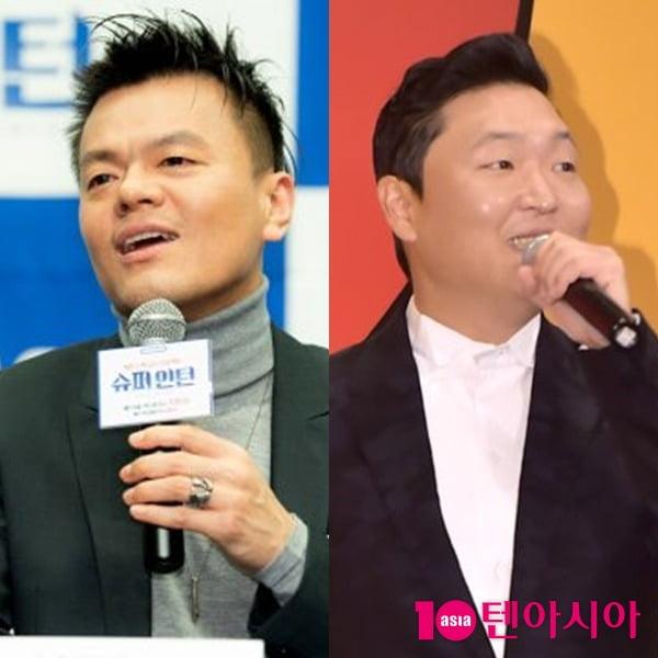 가수 박진영(왼쪽)과 싸이/ 사진 = 텐아시아 사진DB