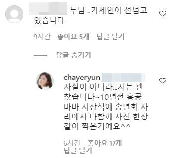 배우 차예련이 남긴 SNS 댓글/ 사진=인스타그램