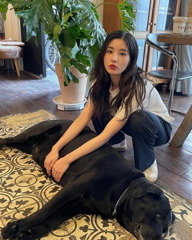 """권은비, 커피 들고 거울 앞에 서면 화보 완성 """"곰돌이랑 강아지랑"""" [TEN★]"""