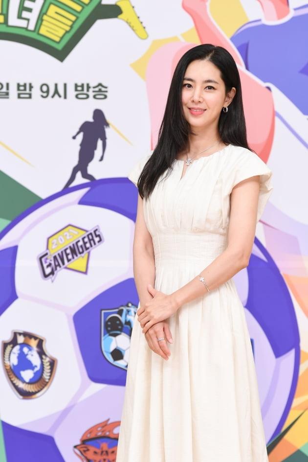 배우 한채아가 16일 오후 온라인 생중계된 SBS 새 예능프로그램 '골 때리는 그녀들' 제작발표회에 참석했다. /사진제공=SBS