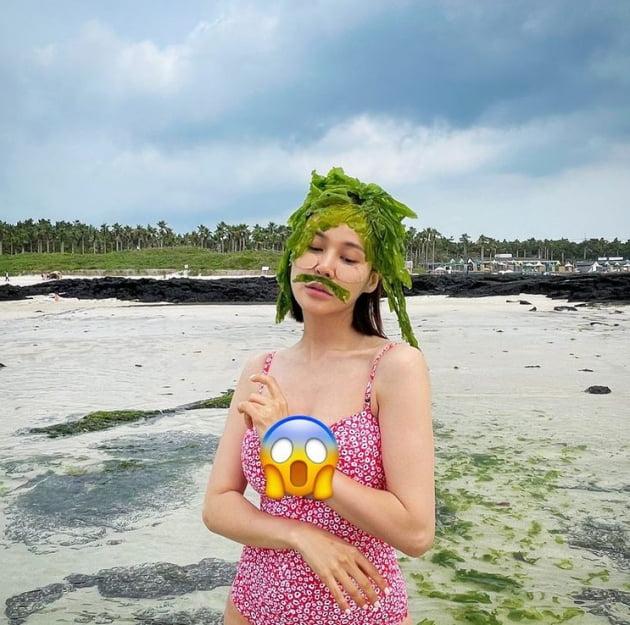 아이비, 미역+수영복...수염까지 CG같네[TEN★]