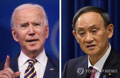 """바이든, G7서 스가와 10분 대화…""""도쿄올림픽 개최 지지""""(종합2보)"""