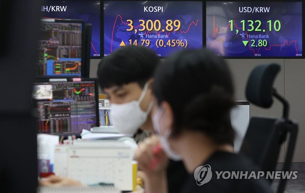 코스피 사상 첫 3,300선 돌파 마감…기관·외국인 순매수(종합)