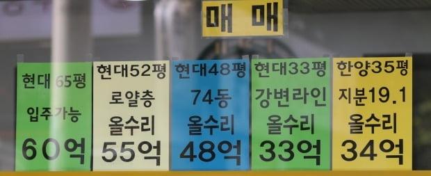 서울 강남구 압구정동의 한 부동산 업소에 게시된 매매 안내. /연합뉴스
