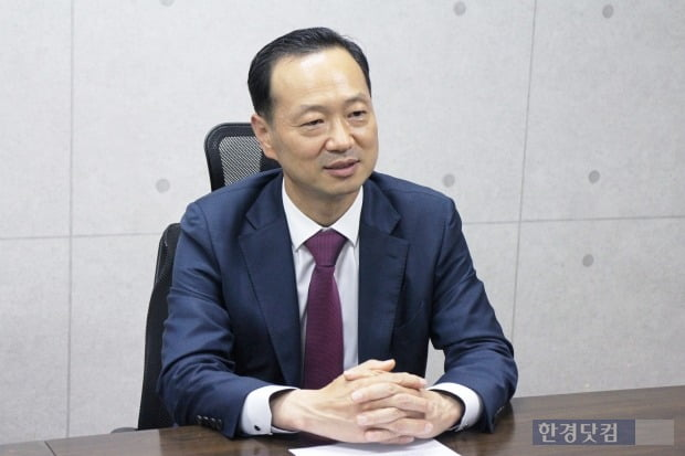 우준석 한컴라이프케어 대표가 회사 비전에 대해 설명하고 있다. /사진=류은혁 기자