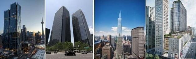 국민연금의 주요 빌드투코어 투자 자산들. 왼쪽부터 토론토 CIBC스퀘어, 서울 센터필드(옛 르네상스 호텔), 뉴욕 원밴더빌트, 뉴욕 원매디슨에비뉴.