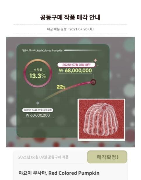 아트앤가이드는 지난 6월 9일 6000만원에 공동 구매한 일본의 유명 작가 야요이 구사마의 작품을 7월 1일 6800만원에 매각했다. 투자자들이 13.3%의 수익을 거뒀다.