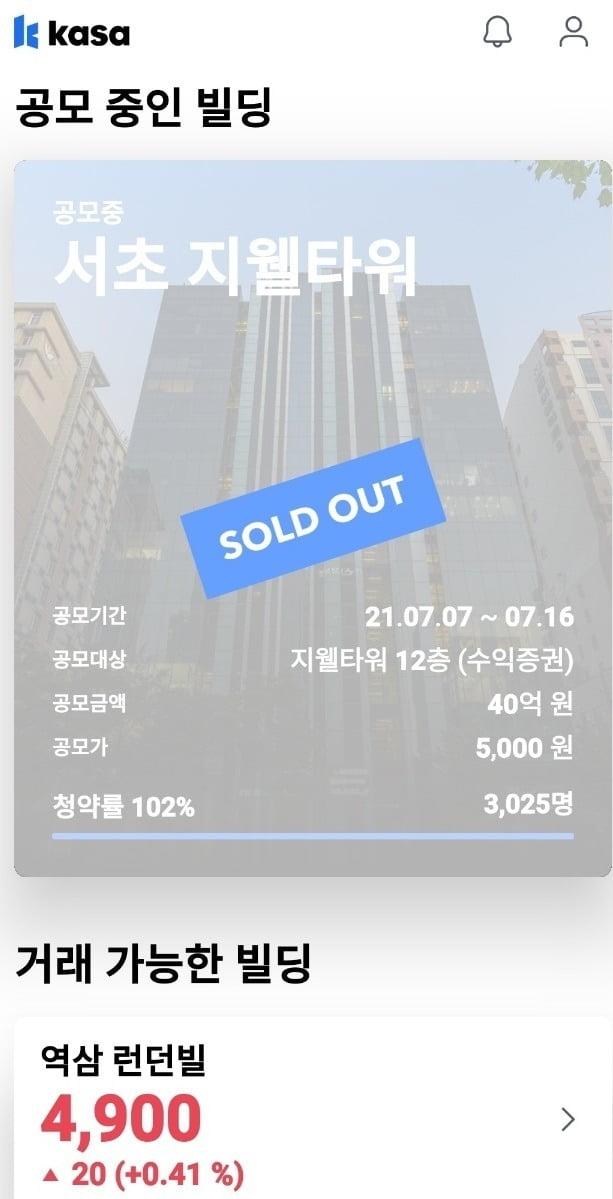 카사는 최근 강남에서 추가로 빌딩의 지분을 투자자들에게 판매하는 '공모'를 한 번 더 진행했는데 불과 2시간여 만에 판매가 완료됐다.