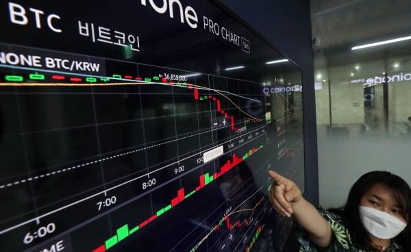 20일 서울 용산구 코인원 고객센터에서 직원이 암호화폐 시황을 살펴보고 있다. 뉴스1