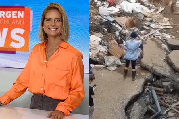 독일 기자 수잔나 올렌이 홍수 피해 지역에서 얼굴과 몸에 진흙을 바르고 복구 작업을 도운 듯 꾸며 논란이 일었다. /사진=SNS
