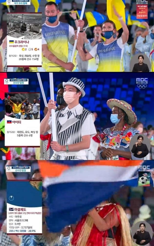 23일 도쿄올림픽 개막식 중계에서 국가 소개에 부적절한 내용을 담은 MBC 중계 화면. MBC 화면 캡처