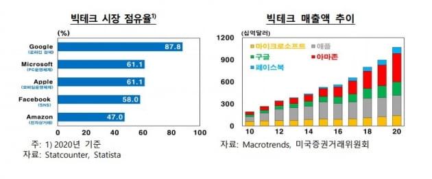 빅테크 시장점유율. 한국은행 보고서