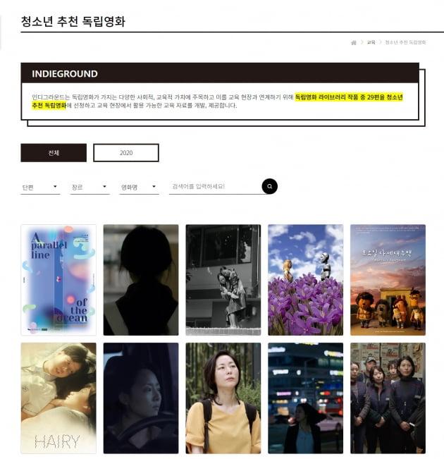 '청소년 추천 독립영화' 29편, 교육 활동 지원 서비스 오픈
