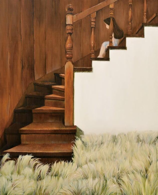 계단 위의 아이, 캔버스에 유채, 80.3×100cm, 2021년