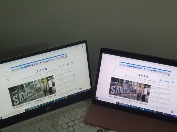 삼성 '갤럭시 탭S7 FE'를 세컨드 모니터로 사용하는 모습/ 사진=배성수 기자