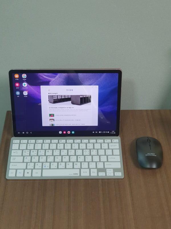 삼성 '갤럭시 탭S7 FE'를 삼성 덱스를 실행하고 무선 키보드, 무선 마우스와 연결한 모습/ 사진=배성수 기자