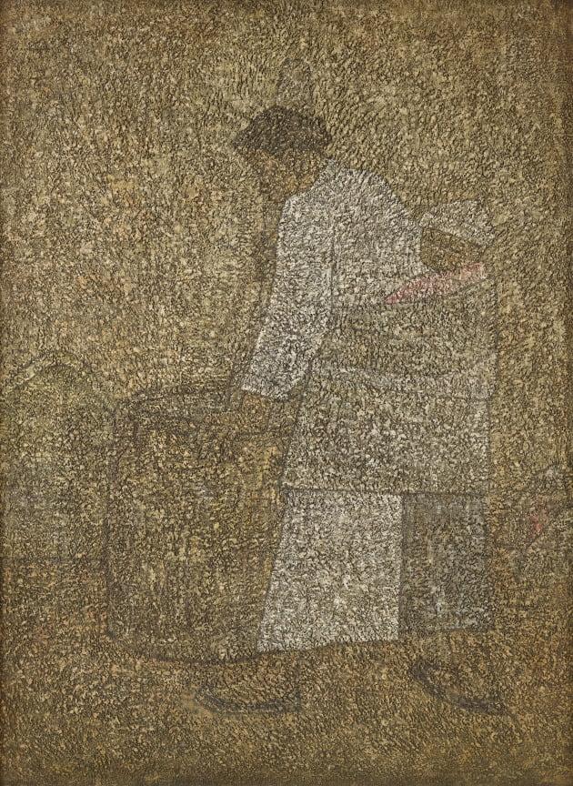박수근, 절구질하는 여인, 1954, 캔버스에 유채, 130x97cm