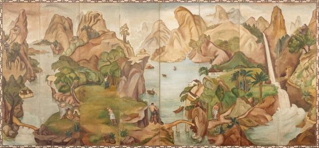 백남순, 낙원, 1936년경, 캔버스에 유채; 8폭 병풍, 173x372cm