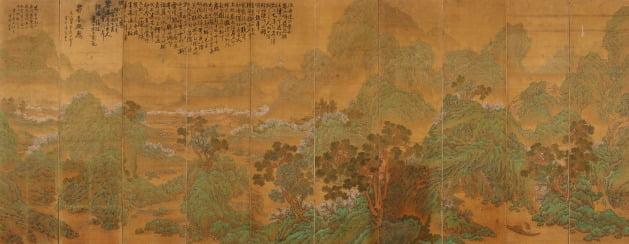 이상범, 무릉도원, 1922, 비단에 채색; 10폭 병풍
