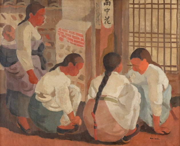 장욱진, 공기놀이, 1938, 캔버스에 유채, 65x805cm