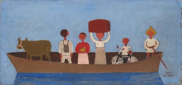 장욱진, 나룻배, 1951, 패널에 유채, 137x29cm