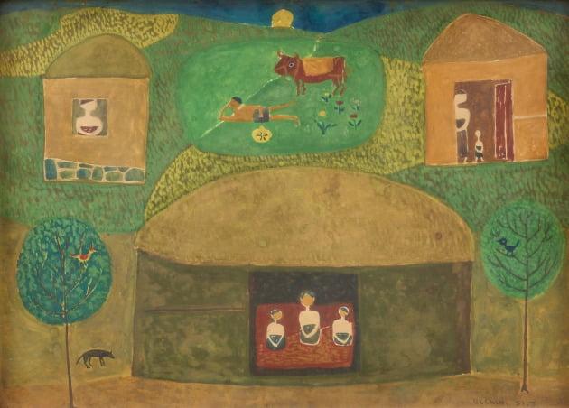 장욱진, 마을, 1951, 종이에 유채, 25x35cm