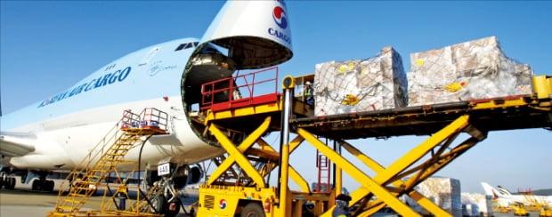 인천공항이 이달 말까지 누적 항공화물 5000만t을 달성할 전망이다. 대한항공 항공기가 화물을 싣고 있다.  인천국제공항공사 제공