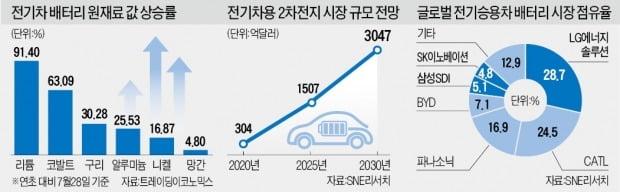 제동 걸린 '반값 전기車'…배터리 원료 리튬·코발트 가격 천정부지