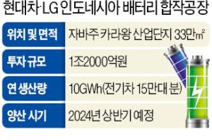 현대차-LG, 1.2조원 투자…印尼에 배터리공장 설립