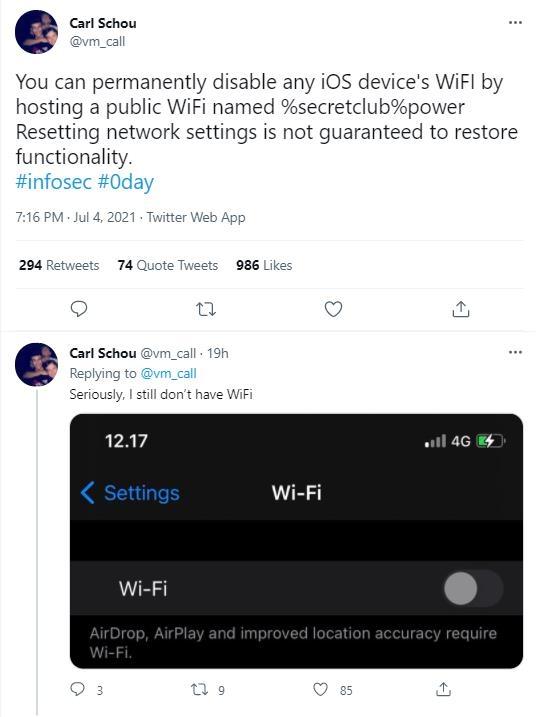 """미 보안연구자 """"아이폰 WIFI 망가뜨리는 네트워크 또 발견"""""""