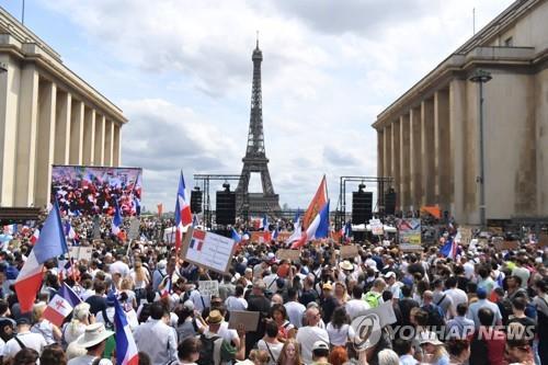 프랑스 전역에서 2주째 '백신 증명서' 반대 시위…11만명 운집
