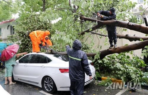 태풍 '인파' 중국 상륙…상하이 일대 하루 최대 500㎜ 폭우