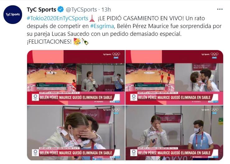 [올림픽] 생방송 인터뷰 중 깜짝 청혼받은 아르헨티나 펜싱선수
