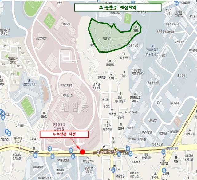 서울 안암역 근처 상수도 누수…도로 파이고 50세대 단수(종합)