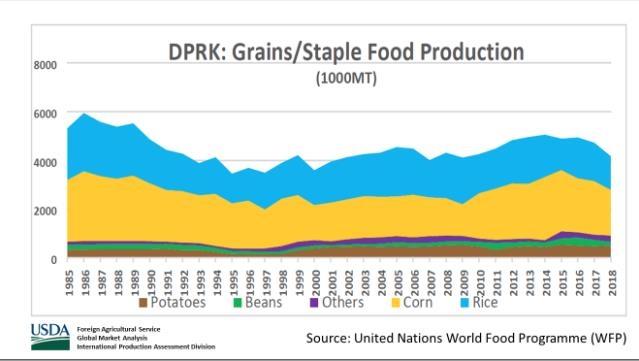 """미 농무부 """"올해 북한 면적당 쌀생산 예년보다 10% 가까이 줄어"""""""