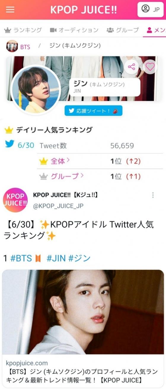 방탄소년단 진, 일본 열도를 달구는 인기…데일리 트위터 랭킹 1위 선정