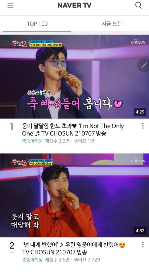 임영웅, 네이버 TV 순위 싹쓸이…1·2위 나란히 랭크