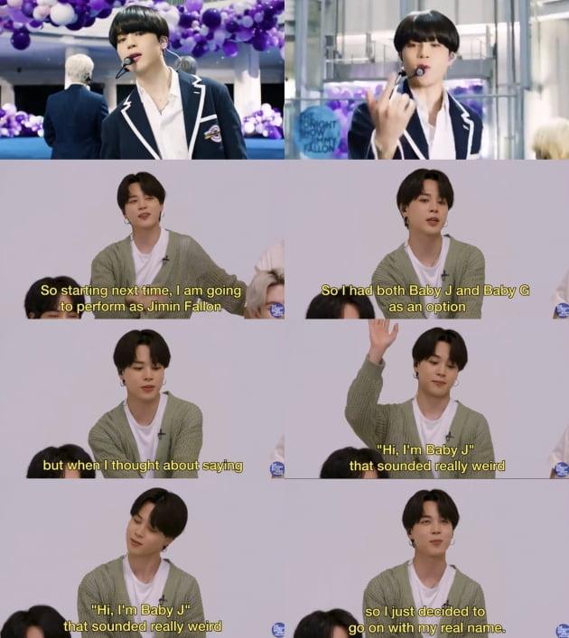 방탄소년단 지민, 'Baby J'와 '지민팰런'으로 활동?…美 '투나잇쇼'서 입담 폭발