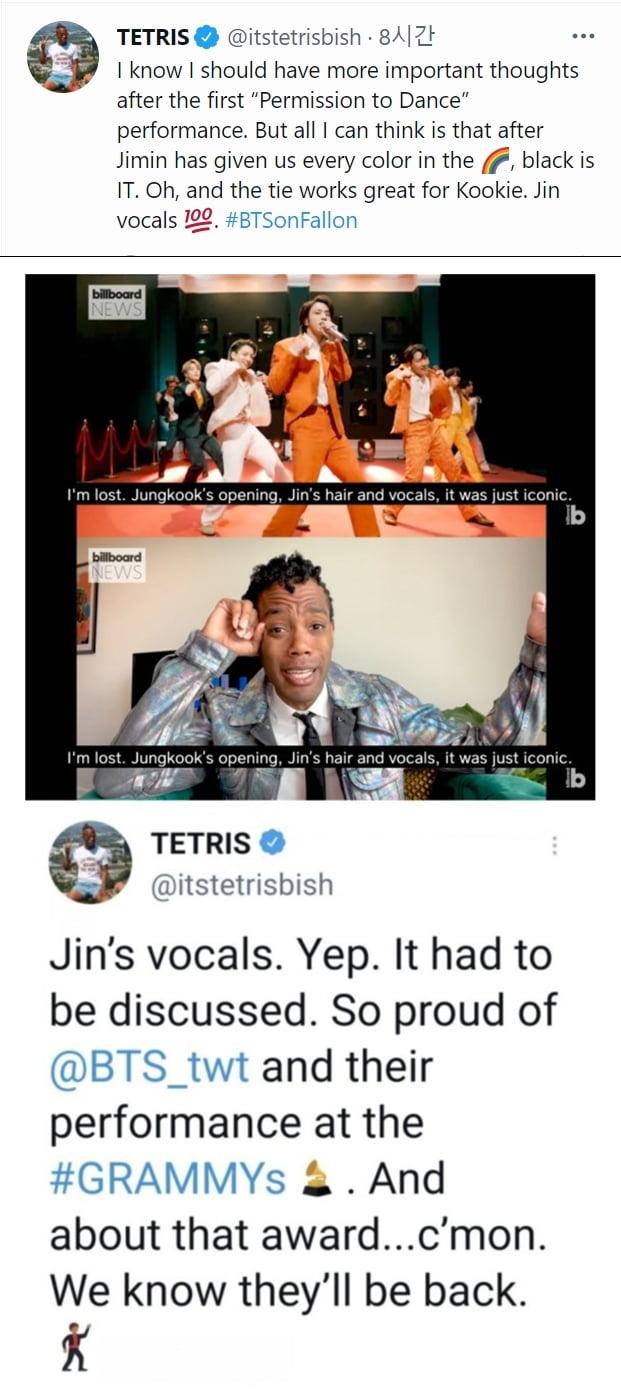 """'지미 팰런 쇼' 찢은 방탄소년단 진, """"테너도 힘든 G#4s음을 완벽 소화"""""""